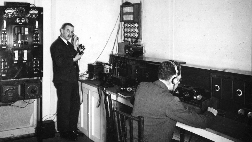 Men in control room wireless control room, 1926