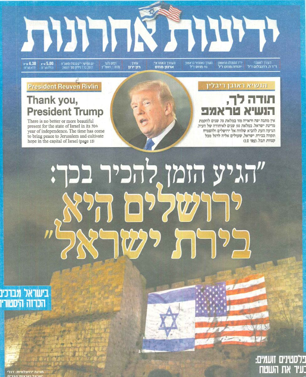 Front cover of Israeli newspaper Yedioth Ahronoth