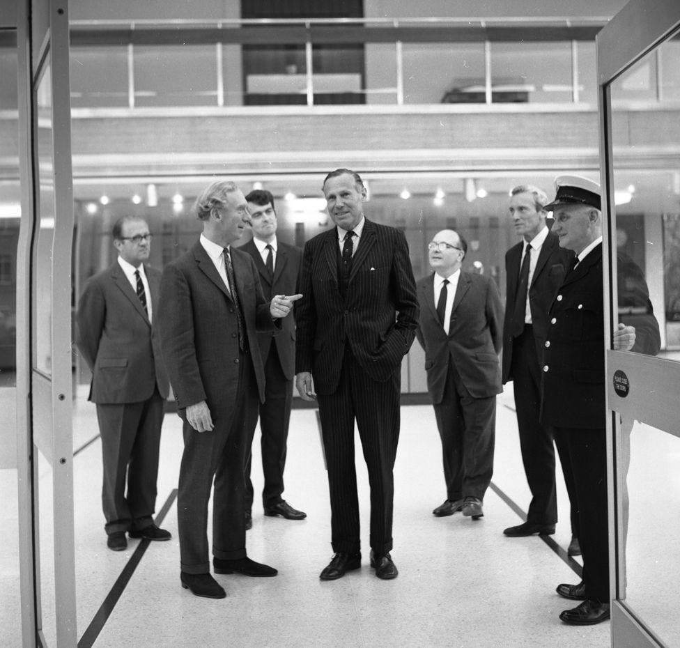 John Arkell on a visit to BBC Wales in 1970