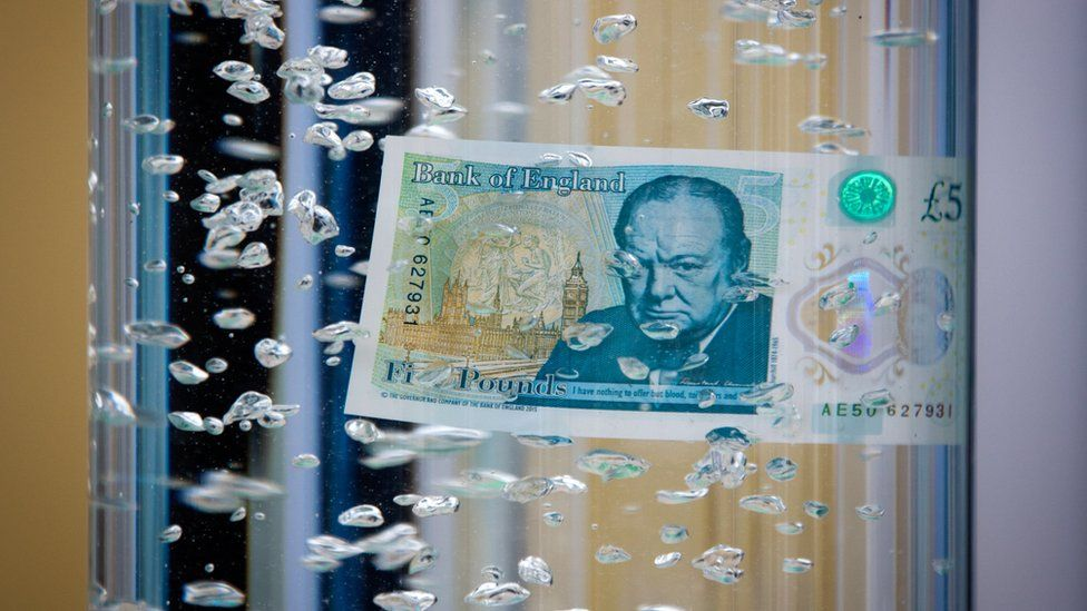 The new five pound note under water