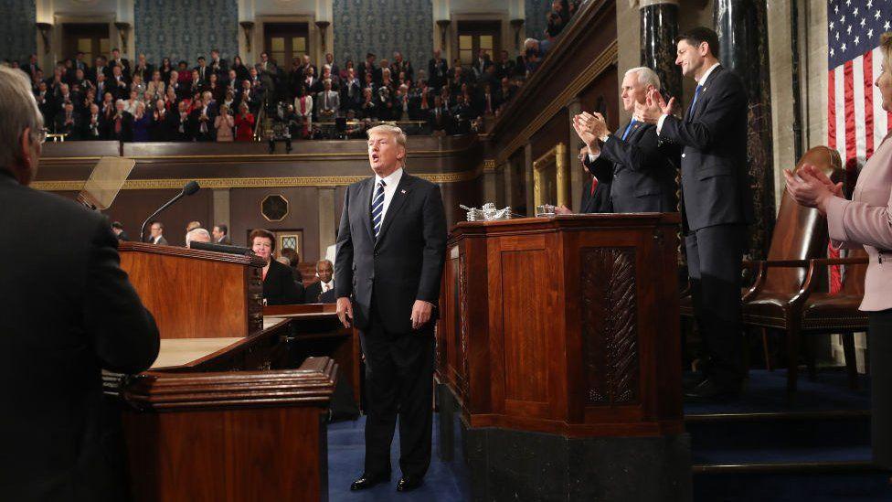 Mr Trump speaks to Congress