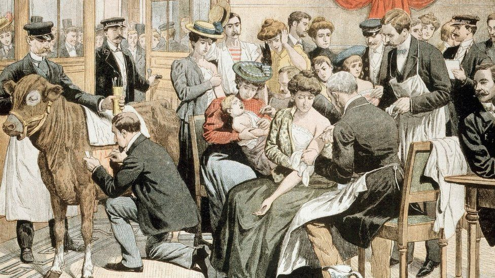 Illustration of people getting the smallpox vaccine in the 18th Century