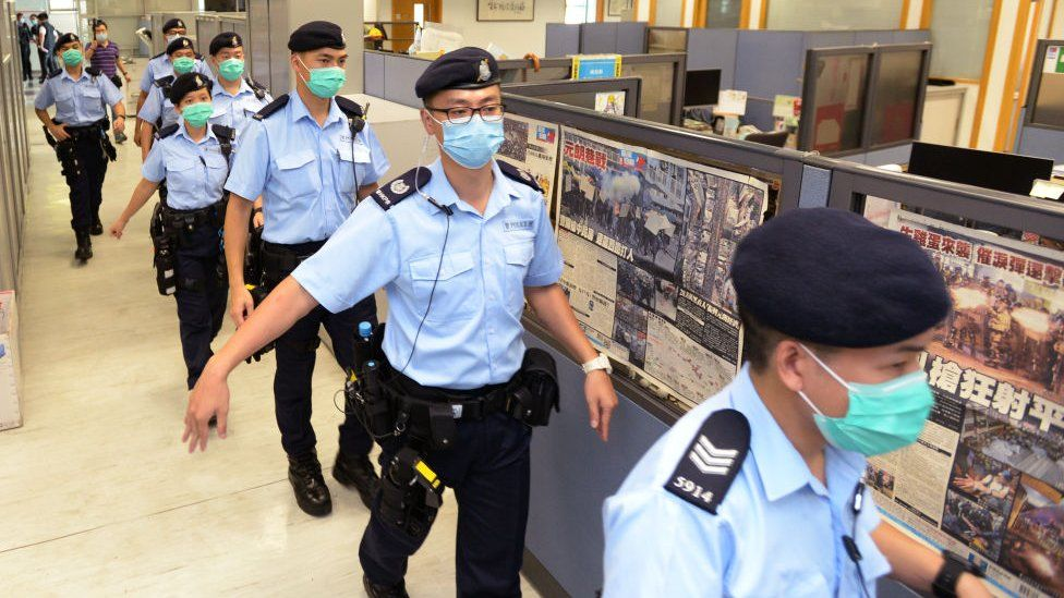 Around 200 police officers raided the paper's office