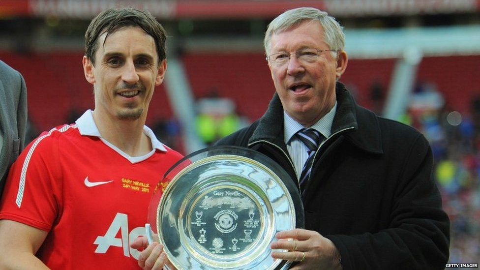 Gary Neville and Sir Alex Ferguson at the player's testimonial