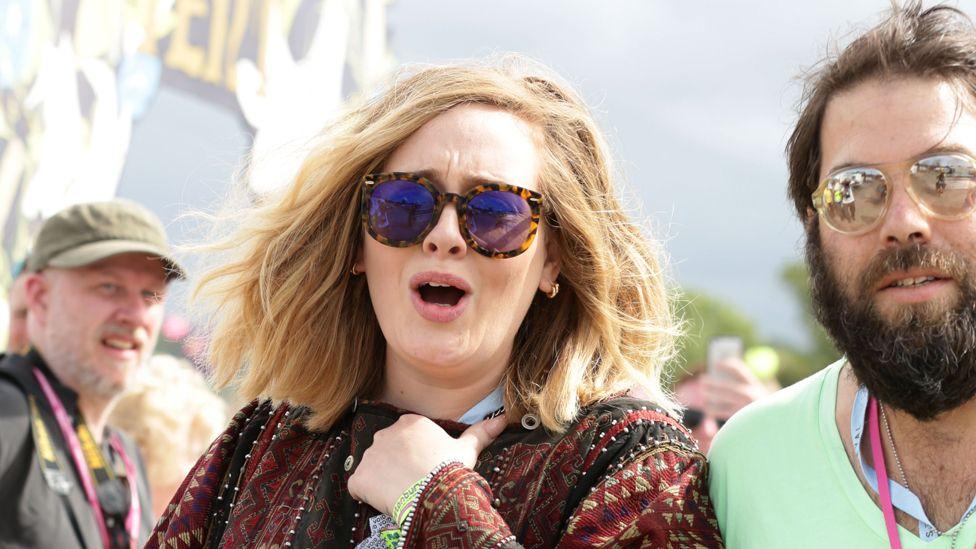 Adele with her partner Simon Konecki at Glastonbury 2015