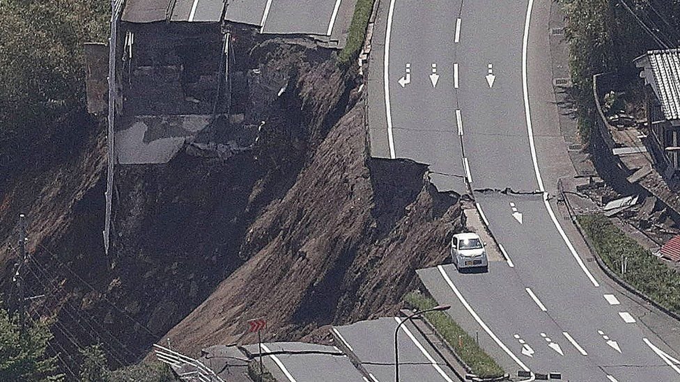 Collapsed road after an earthquake in Minami-Aso.