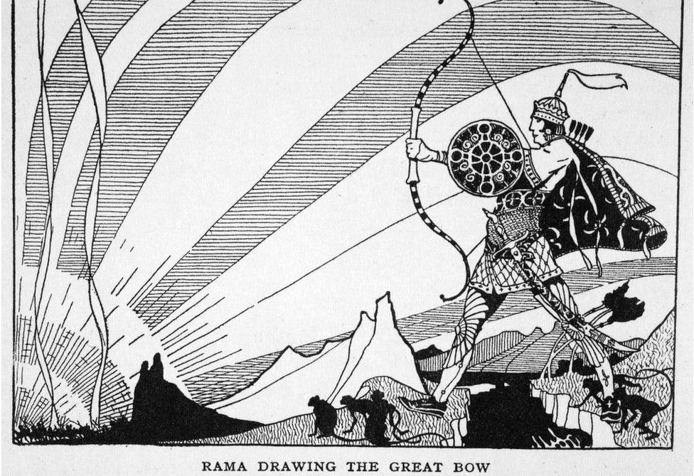 Rama Drawing the Great Bow', 1925. A scene form the Hindu epic poem the Ramayana. Rama preparing to fire the Brahmastra in his final victorious battle with the demon-king Ravana.