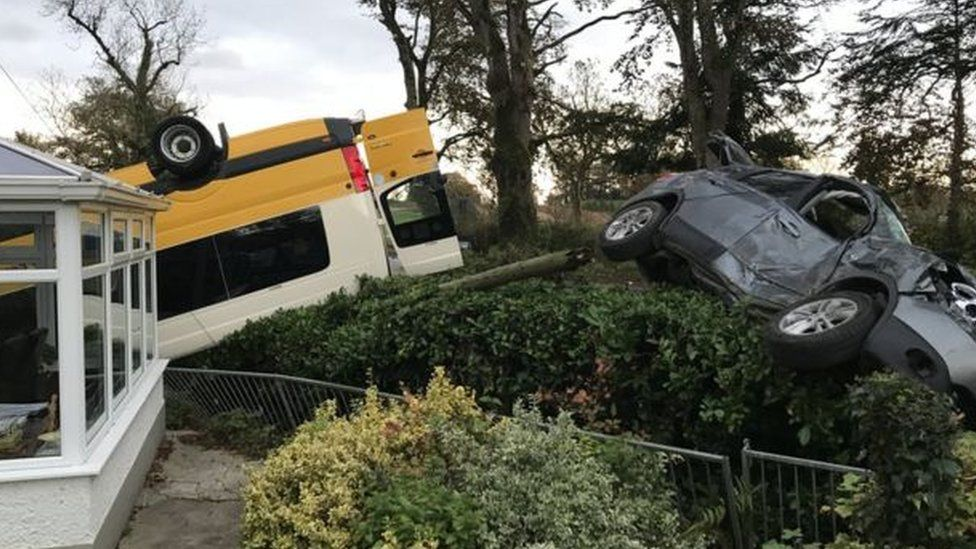 Scene of the bus crash near Augher
