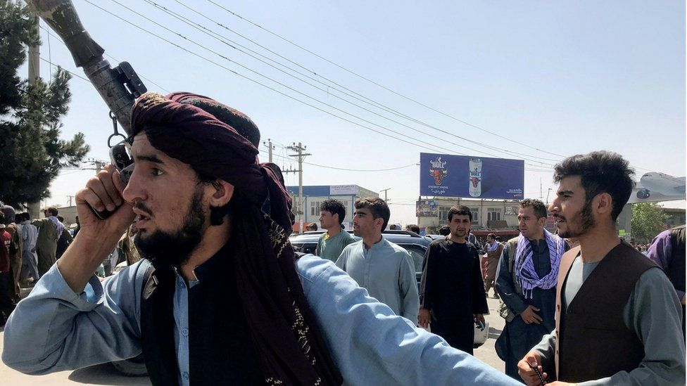 Taliban fighters at the airport