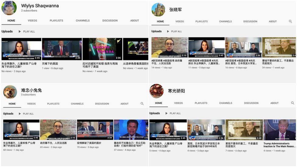 Screenshots from YouTube. Many of the YouTube channels uploaded the same videos about the US government's response to Covid-19