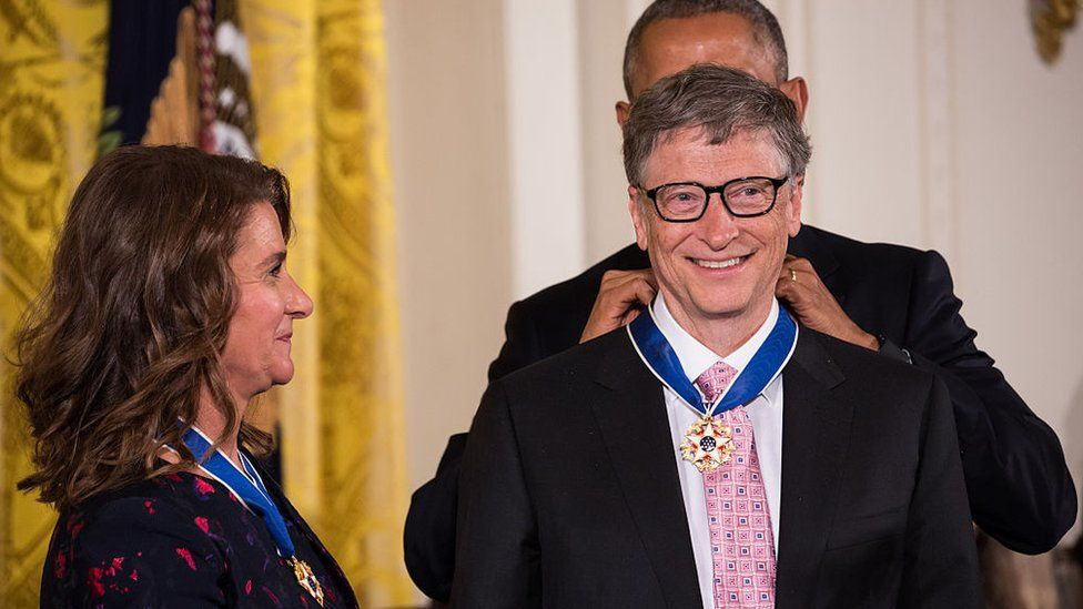 President Barack Obama awarded the Presidential Medal of Freedom to philanthropists Bill and Melinda Gates