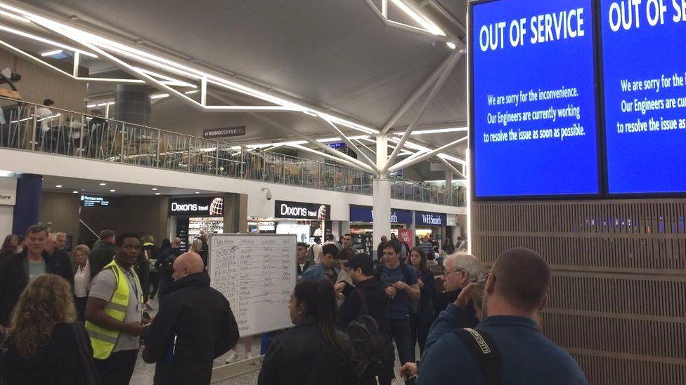 Broken screens at Bristol Airport