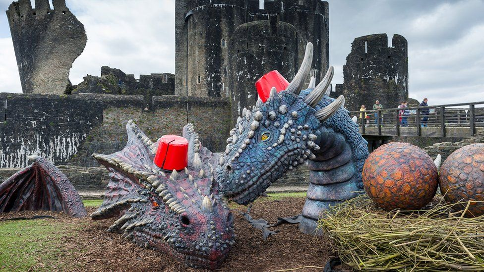 The dragons at Caerphilly Castle
