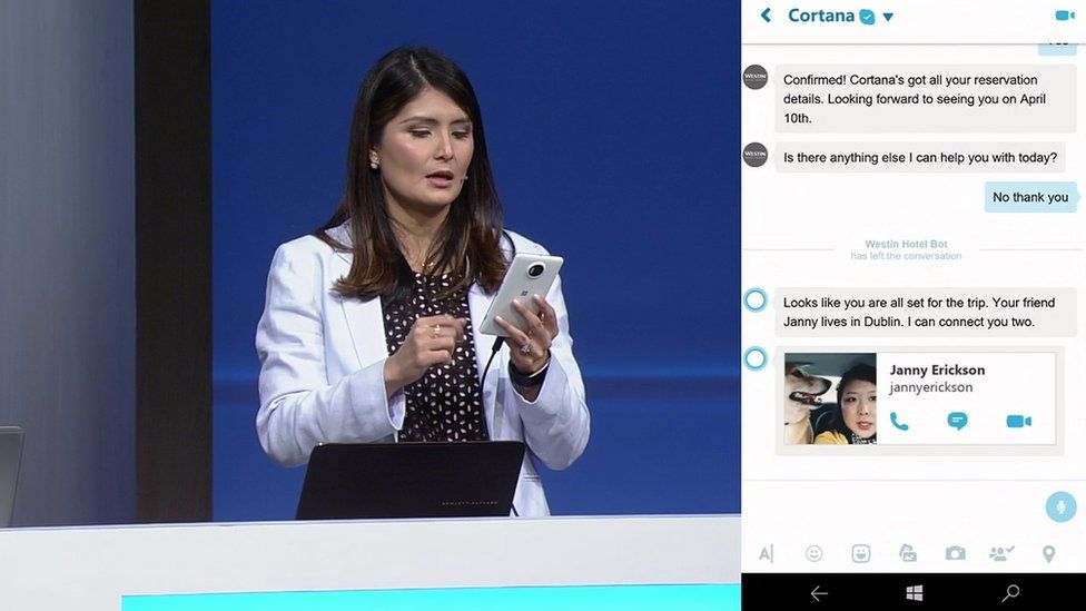 Executive Lilian Rincon demonstrated how automated bots could help book a hotel via Skype