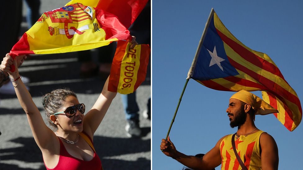 Demonstrators in Barcelona: pro-unity (L) and pro-independence