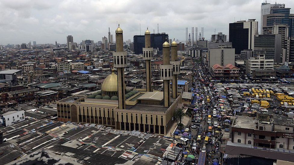 A picture taken on May 22, 2015 shows Nigeria's commercial capital of Lagos ahead the inauguration of President-elect Muhammadu Buhari on May 29.