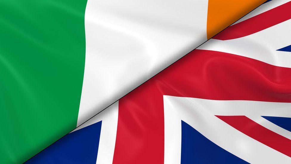 The Irish flag and the UK union flag