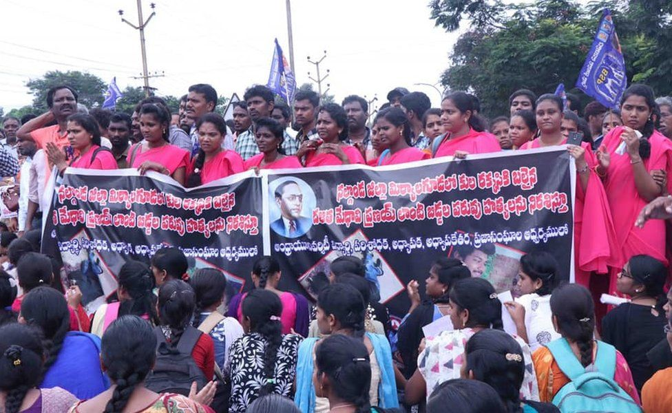 Dalit groups gathered to protest against the Pranay's murder.