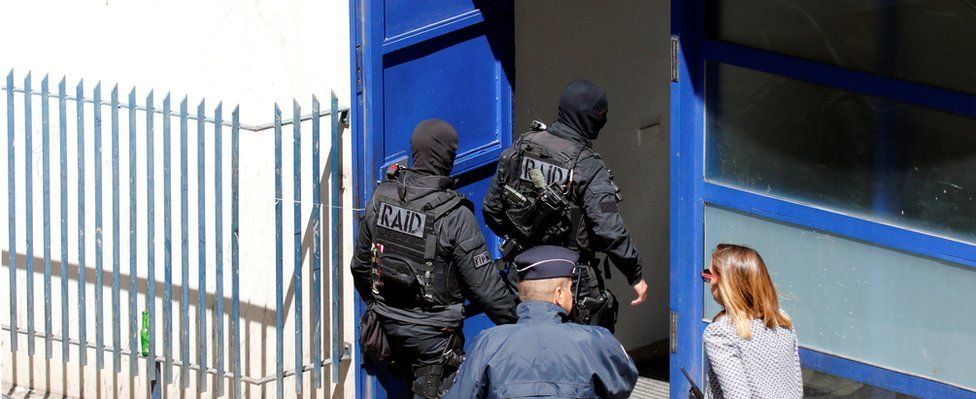 French police and members of special Police units Raid conduct an investigation after two Frenchmen were arrested in Marseille