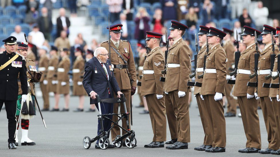 Captain Sir Tom Moore inspecting junior soldiers at Harrogate's Army Foundation College