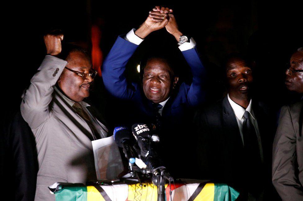 Zimbabwe's former Vice-President Emmerson Mnangagwa addresses supporters in Harare, Zimbabwe