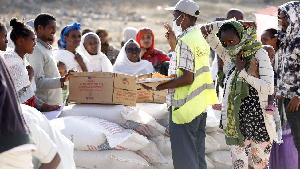 USAid food aid being distributed in Mekelle on 8 March 2021