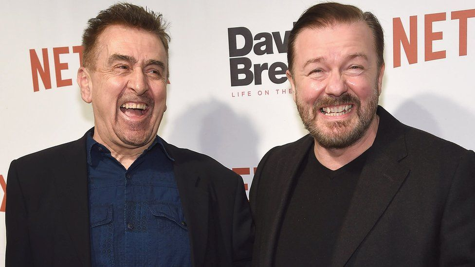 Charlie Hanson (L) and Ricky Gervais attend David Brent: Life on the Road New York screening in February 2017, another project the producer worked on