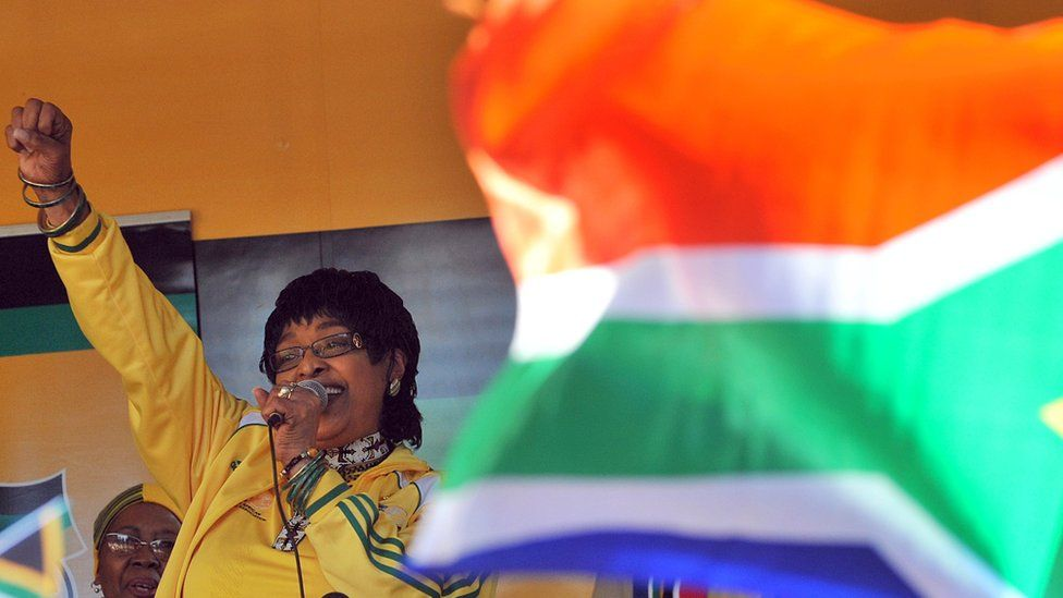 """A file photo of Winnie Madikizela-Mandela addressing members of South Africa""""s ruling party African National Congress (ANC) during a street party on June 04, 2010"""