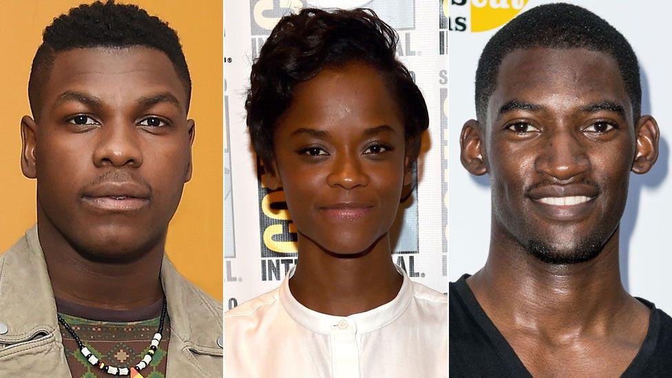 L to R: John Boyega, Letitia Wright and Malachi Kirby