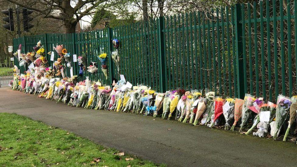 Floral tribute at the crash scene