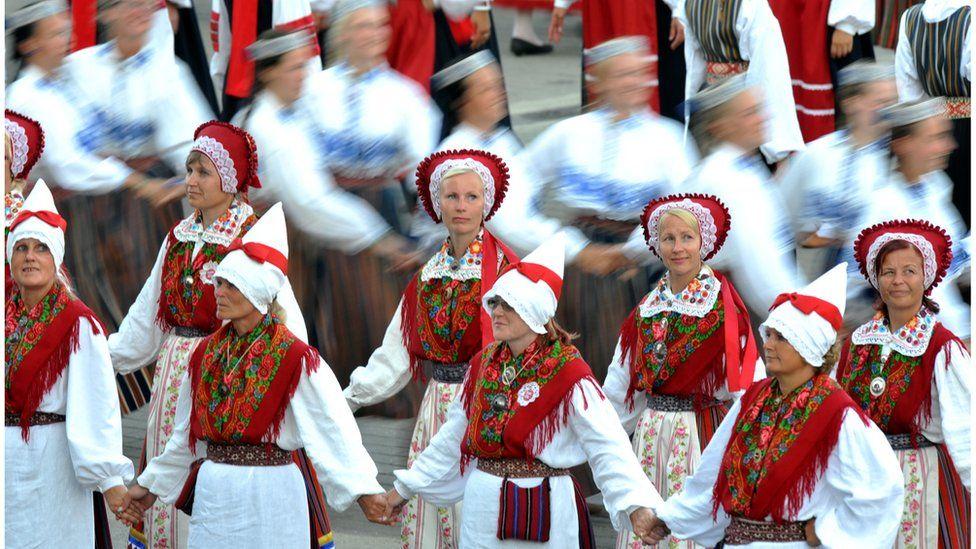 Estonian traditional dancers