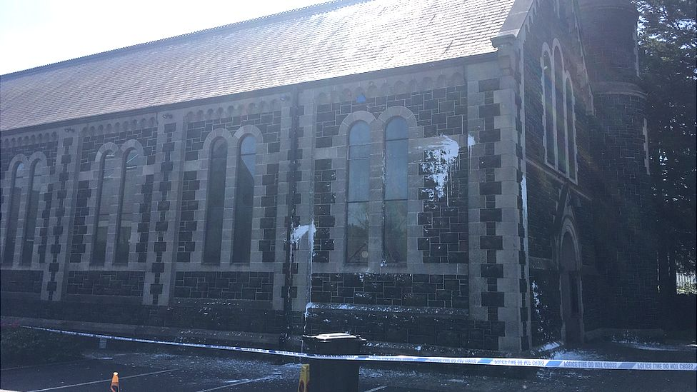 Paint damage on Sacred Heart Church in Ballyclare