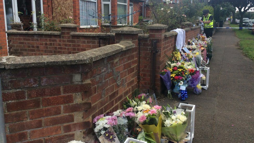 Flowers left at scene of attack in Northampton