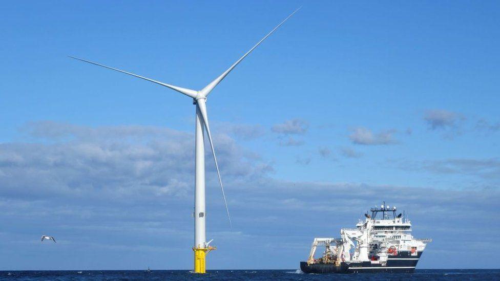 A wind turbine in the sea