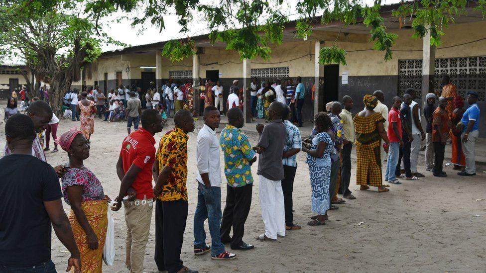 People queuing to vote in Abidjan