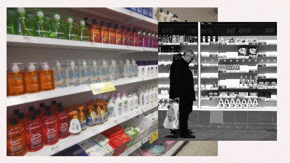 Supermarket shelves - full and empty