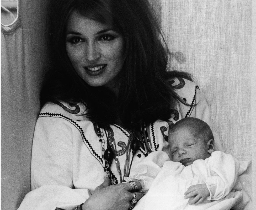 Tara Getty at three weeks old in the arms of his mother, Talitha Pol