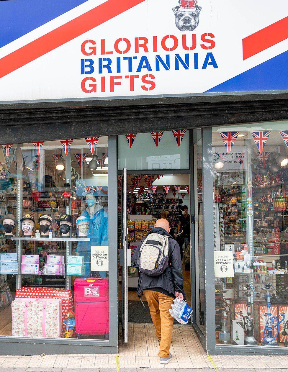 A customer enters a gift shop