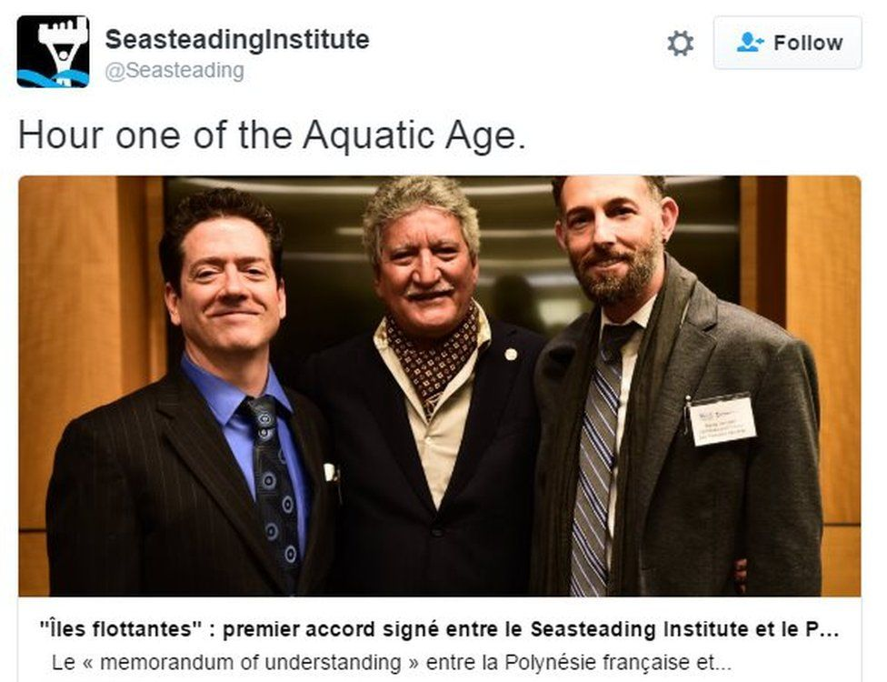 @Seasteading tweets: Hour one of the Aquatic Age.