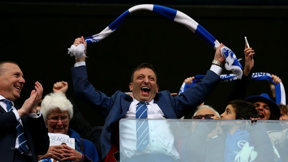 Owner and chairman Tony Bloom celebrating promotion