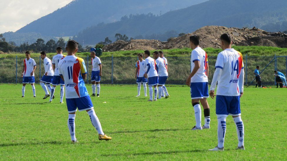 La Paz F.C. players warm up before the game