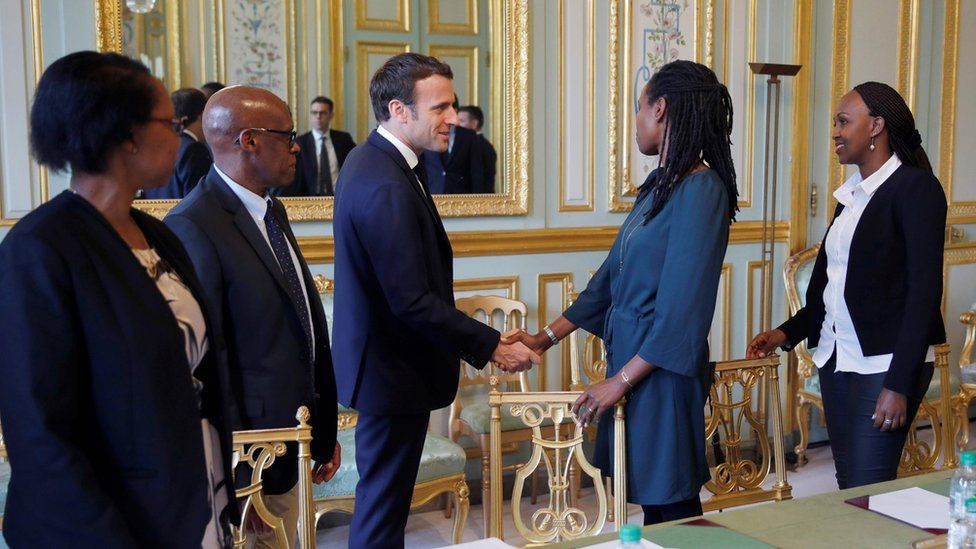 macron meets French representatives of a Rwandan genocide survivors group