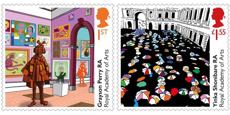 Grayson Perry and Yinka Shonibare stamps