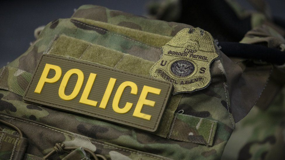 A protective vest with identifying markings worn by Border Patrol is seen during a press conference on the actions taken by Border Patrol and Homeland Security ag