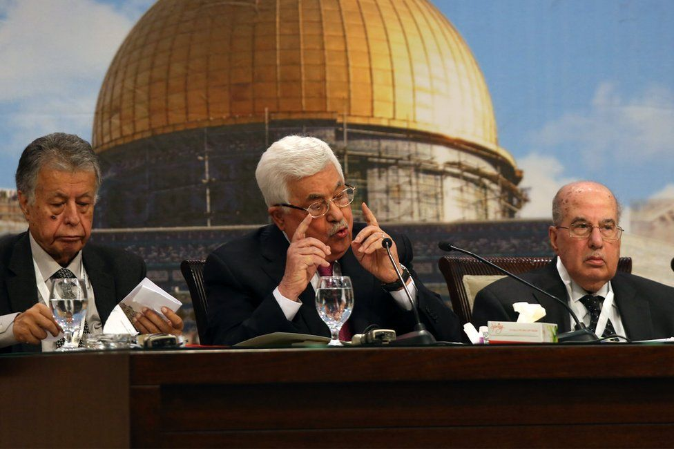 Mahmoud Abbas (C) addresses The Palestinian National Council 23rd opening session in the West Bank town of Ramallah, 30 April