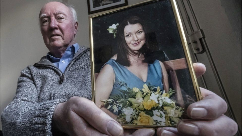 Peter Lawrence with photo of Claudia