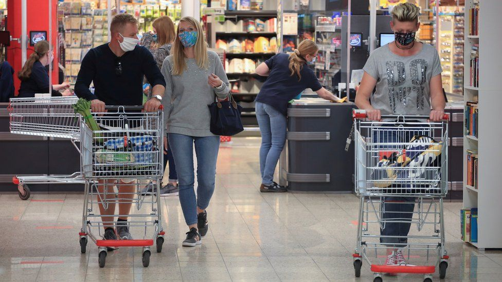 German shoppers in a supermarket