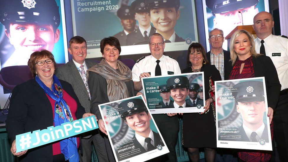 Michelle O'Neill and policing spokesman Gerry Kelly attended the PSNI recruitment launch