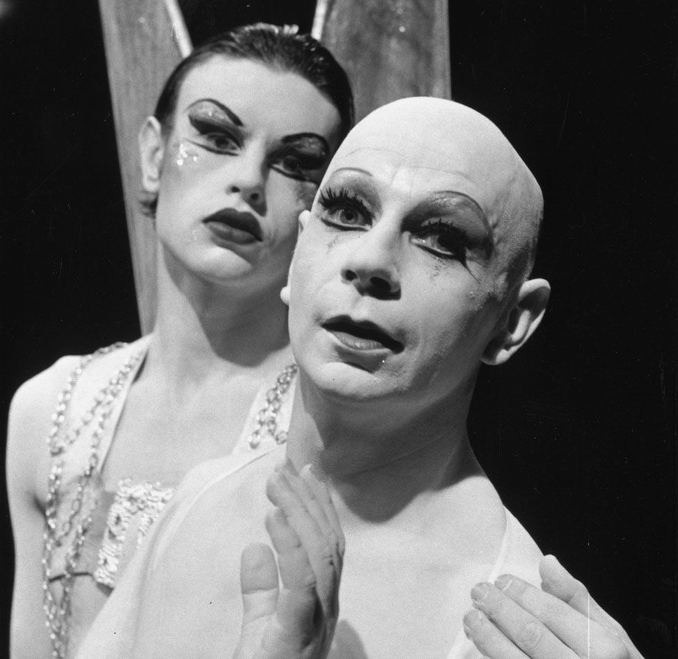 Lindsay Kemp, right, with David Haughton in July 1975
