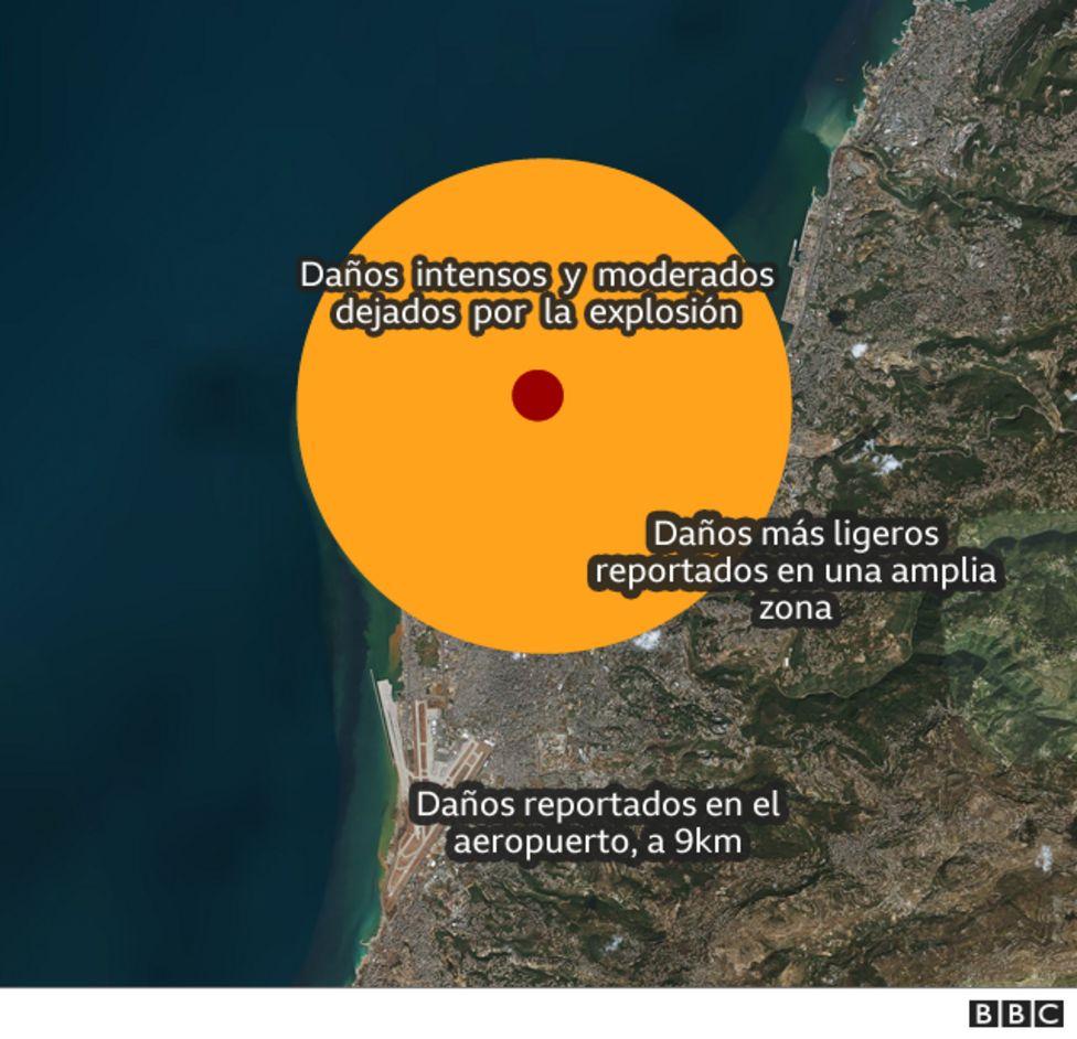 Mapa muestra el radio de destrucción de la explosión